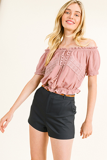 $15 - Cute cheap blue stripe long sleeve tie wrist button up boho blouse top - Mauve pink off shoulder crochet lace applique boho peasant crop top