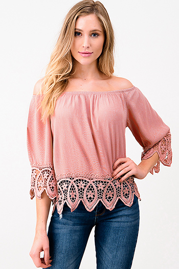 $15 - Cute cheap black linen mid rise tie waisted pocketed resort boho shorts - Mauve pink off shoulder quarter sleeve crochet lace trim resort boho top