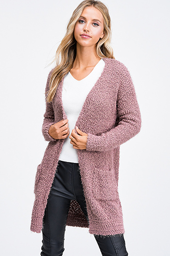 $25 - Cute cheap mauve pink laceup front long sleeve boho sweater knit top - Mauve pink popcorn knit long sleeve open front pocketed boho fuzzy sweater cardigan