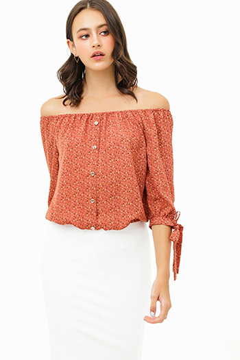 $20 - Cute cheap red orange ruffle quarter bell sleeve round neck boho tunic top - Mauve pink speckle print off shoulder quarter tie sleeve button trim boho blouse top