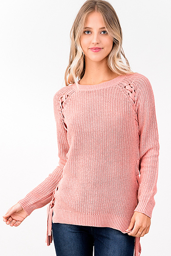 $20 - Cute cheap blue ruffle boho top - mauve pink red knit long sleeve cut out laceup side boho sweater top