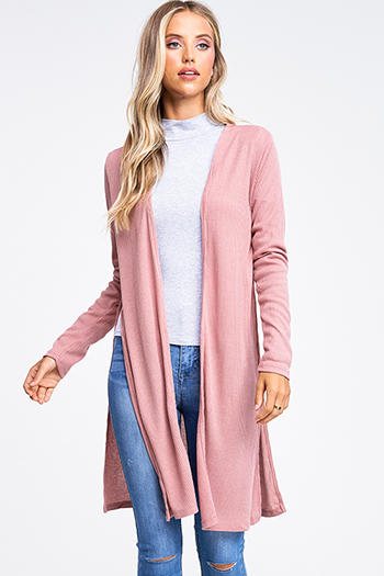 $15 - Cute cheap stone gray faux suede long sleeve waterfall draped open front tie waisted duster cardigan - Mauve pink ribbed knit long sleeve slit sides open front boho duster cardigan
