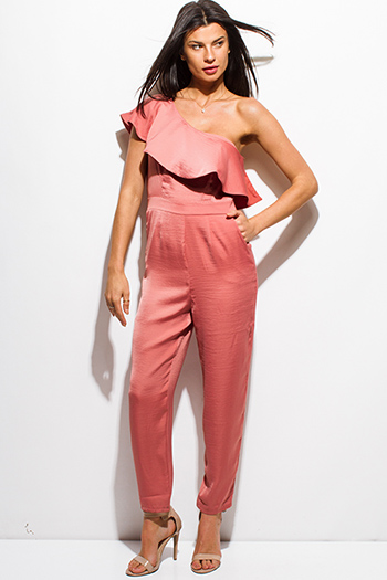 $20 - Cute cheap mesh open back fitted party jumpsuit - mauve pink ruffle one shoulder strapless pocketed party sexy club harem jumpsuit