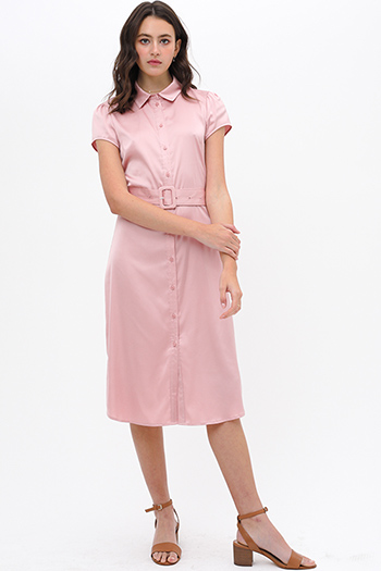 $32 - Cute cheap v neck cocktail dress - Mauve pink satin short sleeve belted button up boho midi shirt dress