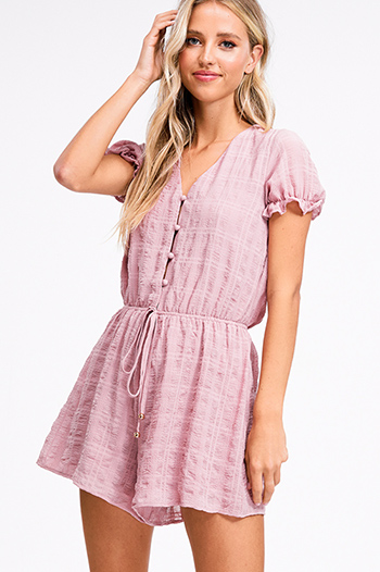 $15 - Cute cheap mustard yellow ruffle tiered apron front button trim wide leg boho culotte jumpsuit - Mauve pink short sleeve button up tie waist boho romper playsuit jumpsuit