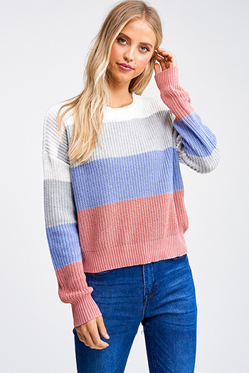 $20 - Cute cheap dusty blue fuzzy knit long sleeve round neck oversized sweater tunic top - Mauve pink sky blue color block long sleeve boho cropped sweater top