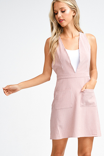 $15 - Cute cheap long sleeve bodycon dress - Mauve pink striped a line pocketed crossed back boho overall mini dress
