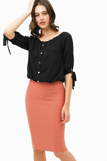 $25 - Cute cheap black ribbed v neck button detail boho fitted bodycon sweater midi dress - Mauve pink sweater knit high waisted bodycon fitted zip up pencil midi skirt