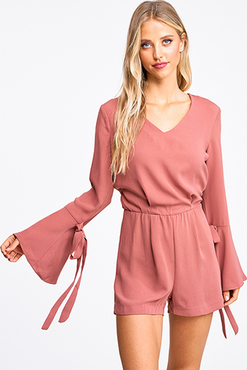 $18 - Cute cheap Mauve pink v neck long tie bell sleeve boho romper playsuit jumpsuit