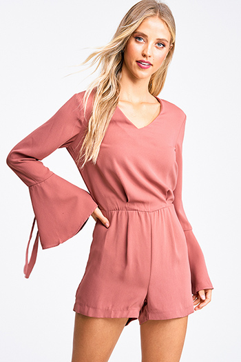 $20 - Cute cheap taupe beige floral print v neck quarter length bell sleeve tie front boho crop blouse top - Mauve pink v neck long tie bell sleeve boho romper playsuit jumpsuit