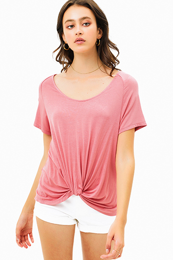 $15 - Cute cheap pink off shoulder top - Mauve pink wide scoop neck knot front short sleeve boho tee shirt top
