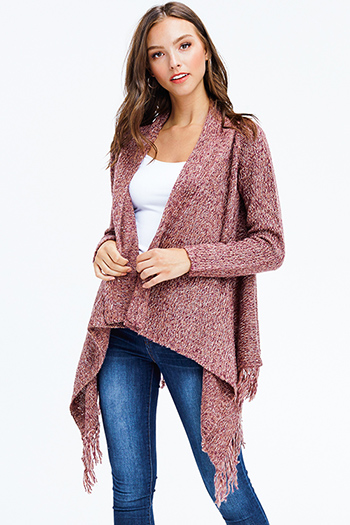 $30 - Cute cheap print bell sleeve cardigan - mauve red long sleeve fuzzy sweater knit fringe trim boho waterfall cardigan top