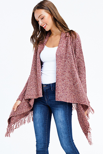 $30 - Cute cheap white asymmetrical hem quarter sleeve zip up fitted blazer jacket top - mauve red long sleeve fuzzy sweater knit fringe trim boho waterfall cardigan top