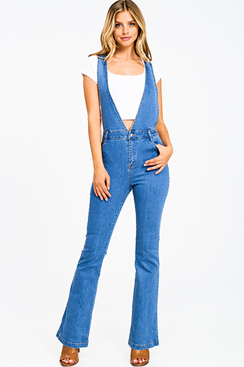 $30 - Cute cheap white denim mid rise distressed pearl studded frayed boho cutoff embellished jean shorts - Medium blue denim a line high waisted fitted pocketed boho flare overalls jumpsuit