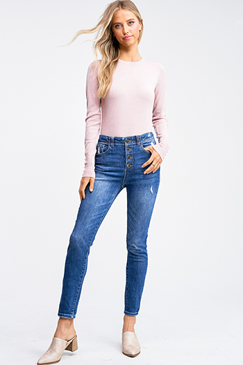 $25 - Cute cheap blue washed denim mid rise distressed ripped fitted skinny jeans - Medium blue washed denim high waisted button up fitted skinny jeans
