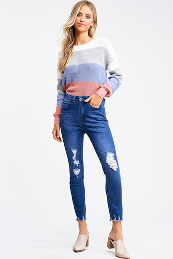 $20 - Cute cheap blue washed denim mid rise distressed destroyed chewed hem ankle fit skinny jeans - Medium blue washed denim high waisted distressed frayed hem skinny jeans