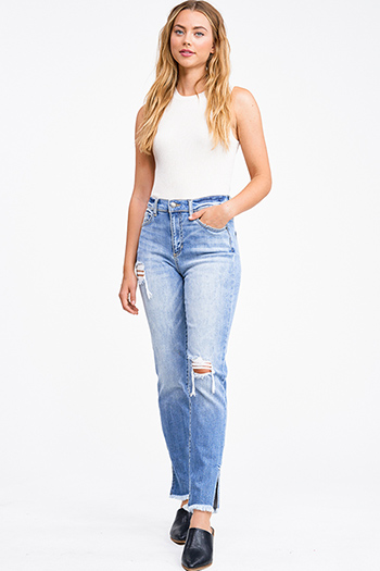$20 - Cute cheap blue washed denim mid rise distressed destroyed chewed hem ankle fit skinny jeans - Medium blue washed denim high waisted distressed slit boho straight leg jeans