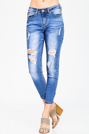 $15 - Cute cheap dark blue washed denim mid rise distressed ripped knee fitted skinny jeans - medium blue washed denim mid rise distressed destroyed cropped ankle fit skinny jeans