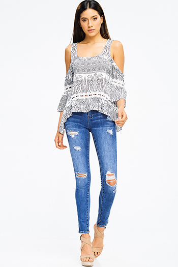 $20 - Cute cheap fall - medium blue washed denim mid rise distressed extreme stretch skinny jeans