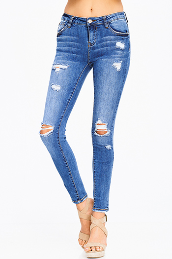 $15 - Cute cheap dark teal blue washed denim mid rise stretch skinny jeans - medium blue washed denim mid rise distressed extreme stretch skinny jeans