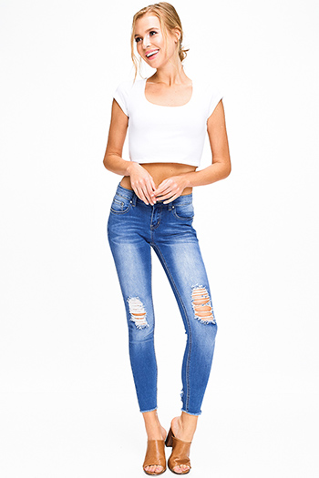 $20 - Cute cheap navy blue gauze blouse - Medium blue washed denim mid rise distressed ripped knee frayed hem fitted skinny jeans