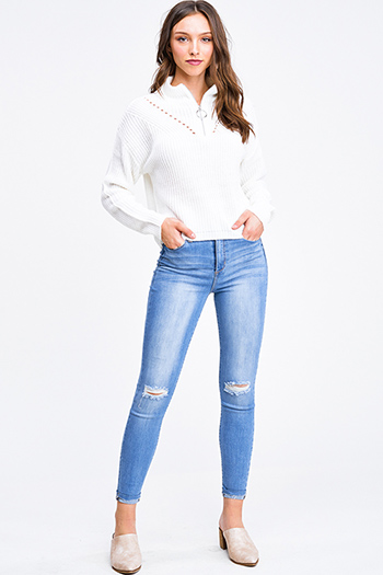 $30 - Cute cheap blue washed denim mid rise distressed destroyed chewed hem ankle fit skinny jeans - Medium blue washed denim mid rise ripped knee distressed fitted skinny jeans