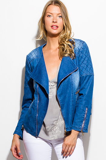 $20 - Cute cheap white golden button long sleeve cold shoulder cut out blazer jacket  - medium blue washed denim quilted long sleeve asymmetrical zip up moto jean jacket