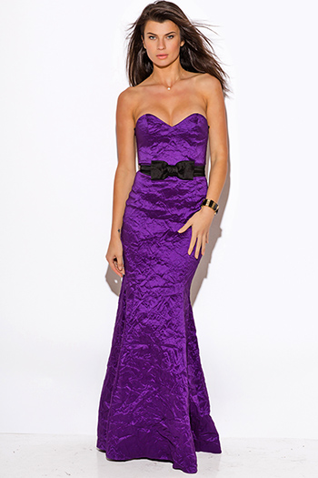 $30 - Cute cheap midnight blue smocked off shoulder bow tie sleeve sash tie maxi dress 99398 - purple bow tie sweetheart satin formal gown evening sexy party dress