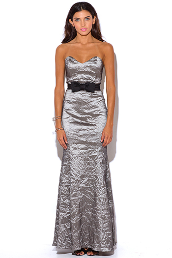 $30 - Cute cheap charcoal gray ruched sleeveless bodycon fitted sexy party midi dress - bow tie gray crinkled formal strapless evening party dress