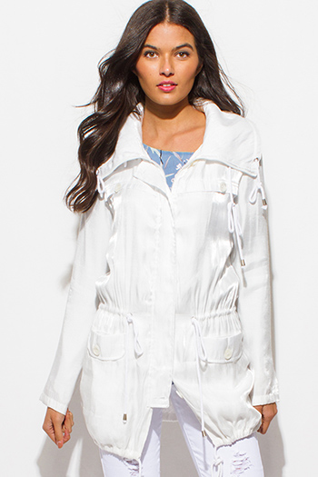$20 - Cute cheap white beach cover up - metallic pearl white lapel collar drawstring waist zip up hooded boho anorak coat jacket