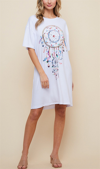 $27.50 - Cute cheap micro fiber jersey brushed fabric printed tunic dress
