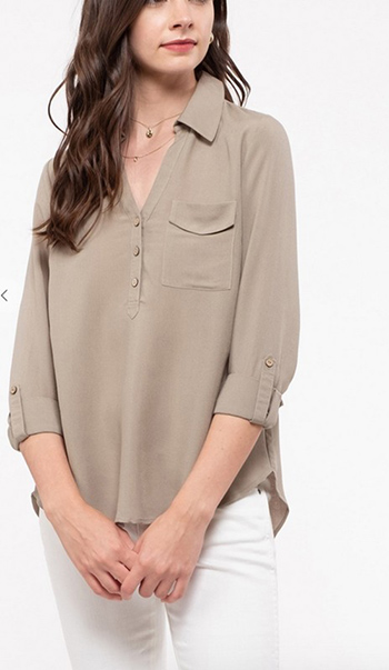$17.00 - Cute cheap mid button front woven top