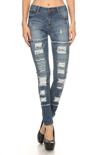 $25.50 - Cute cheap mid rise fray destroy skinny pants