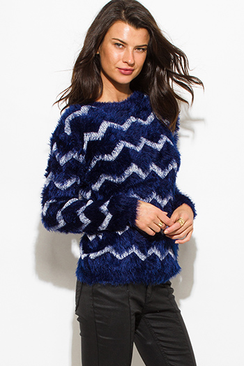 $15 - Cute cheap olive green front pocket long sleeve sweater knit top - midnight navy blue chevron stripe textured long sleeve fuzzy sweater knit top