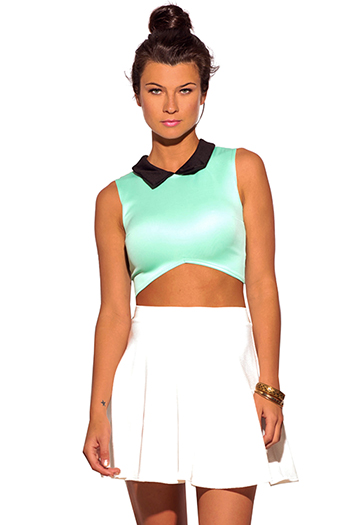 $5 - Cute cheap mint green black color block open front crop tuxedo blazer top - retrol collar mint green crop shell top