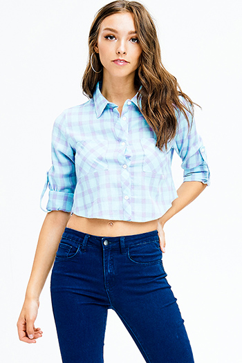 $9 - Cute cheap bejeweled sexy party crop top - mint blue checker plaid print long sleeve button up crop blouse top