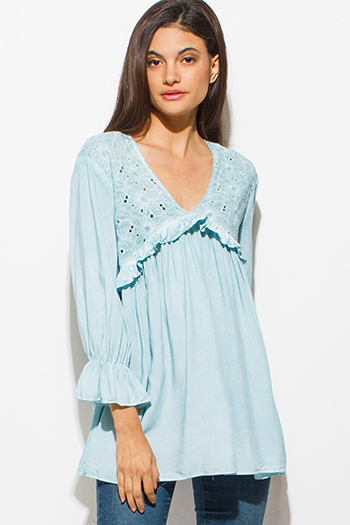 $15 - Cute cheap one shoulder boho top - mint blue embroidered ruffle tiered long sleeve v neck empire boho blouse top