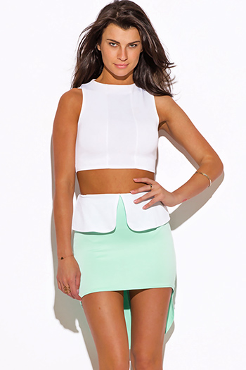 $5 - Cute cheap distressed mocha faux leather stripe banded waisted pleated sexy club mini skirt 88022 - mint green color block high low peplum scuba pencil mini skirt