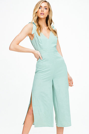 $25 - Cute cheap green pants - Mint green bow strap sleeveless v neck slit wide leg boho culotte jumpsuit