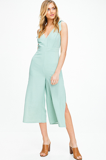 $25 - Cute cheap v neck slit jumpsuit - Mint green bow strap sleeveless v neck slit wide leg boho culotte jumpsuit