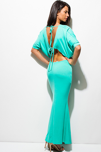 $20 - Cute cheap black bow tie high waisted harem pants - mint green bow tie back dolman sleeve summer maxi dresss