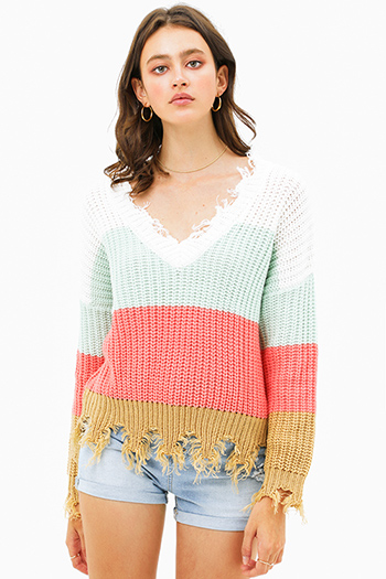 $25 - Cute cheap Mint green color block knit v neck long sleeve fringed chewed hem boho sweater top