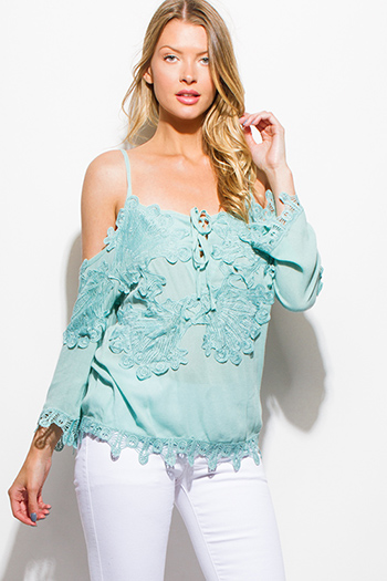 $15 - Cute cheap slit blouson sleeve blouse - mint green crochet lace applique cold shoulder long sleeve boho blouse top
