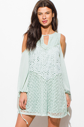 $15 - Cute cheap white lace slit dress - mint green crochet lace chiffon cut out cold shoulder long sleeve boho mini dress