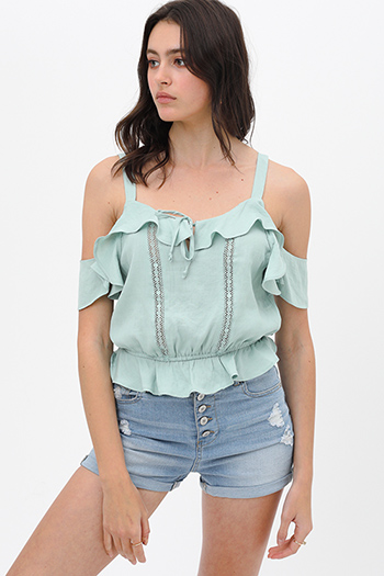 $19.5 - Cute cheap plaid boho blouse - Mint green crochet lace ruffle trim cold shoulder boho cropped blouse top