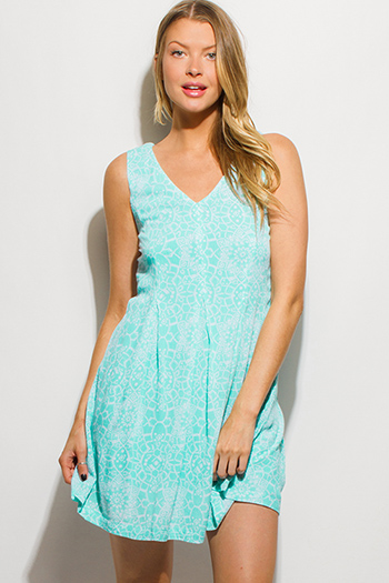 $15 - Cute cheap gauze boho sun dress - mint green ethnic print sleeveless pleated boho swing mini sun dress