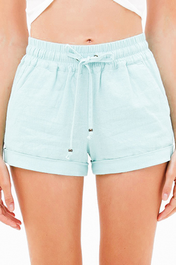 $19 - Cute cheap blue washed denim mid rise distressed cut off hem fitted skinny jeans - Mint green linen mid rise tie waist pocketed boho lounge shorts