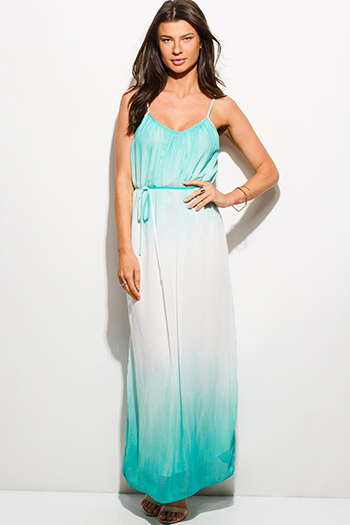 $15 - Cute cheap strapless formal sun dress - mint green ombre tie dye print chiffon boho tie waist summer evening sexy party maxi sun dress