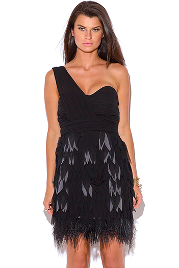 $50 - Cute cheap black lace ruffle off shoulder cut out sexy party midi dress 92574 - Minuet black one shoulder feather ruffle formal cocktail party evening mini dress