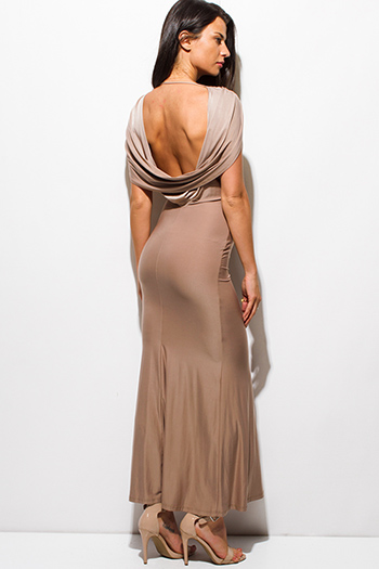 $20 - Cute cheap white bejeweled asymmetrical high slit backless evening sexy party fitted ankle maxi dress - mocha beige draped cowl neck backless formal evening party maxi dress